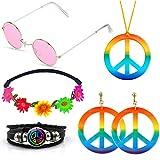 SPECOOL Hippie Costume Set Accessoires Hippie Arc-En-Paix Signe Collier...