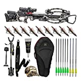 TenPoint Stealth NXT 410 FPS Crossbow ACUdraw 50 Sled Elite Hunter's Bundle w/Stag Hard Case, Pro-View 2 Scope, Shooting Stick, Quiver, 9 Arrows with NAP Broadheads, Sling, Hat, Rail Lube (10 Items)
