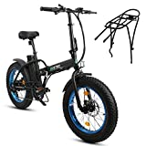 20' 500W 36V 12Ah Fat Tire Folding Electric Bike W/Gifts Rear Rack Removable Lithium Battery Beach Snow Bicycle Moped Electric Mountain Bike Powerful Motor Aluminum Frame Black and Blue