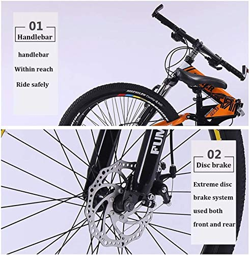 Product Image 6: Road Bikes Mountain Bikes for Adults,Foldable MTB Ebikes for Men Women Ladies, All Terrain 24/26inch Mountain Bike ,Small Space Storage Folding Bicycle Comfortable Seats (Color : Black Blue, Size :