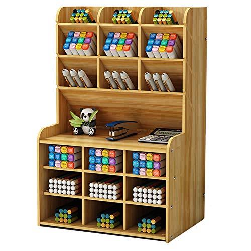 Organizador de Escritorio de Madera Papelería Multifuncional Caja de Soporte de Bolígrafo para Oficina en Casa Rack de Almacenamiento de útiles Escolares con Cajón (Cereza-b16-2)