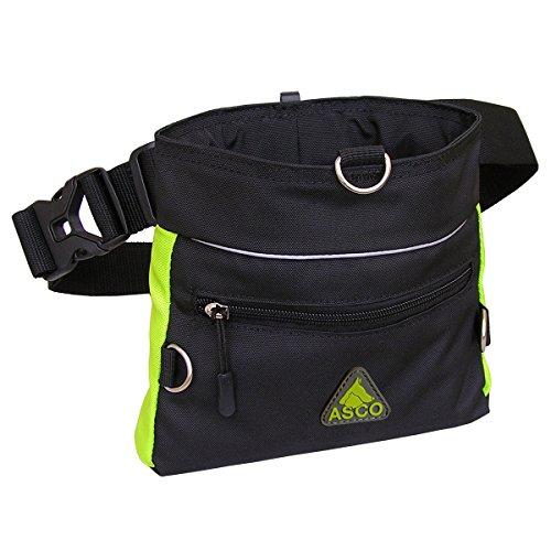 ASCO Futterbeutel, Leckerlibeutel für Hunde, Pferde mit Einhand-Schnappverschluss, 20x20cm, Premium Futtertasche grün AC60TB
