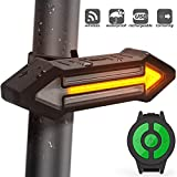 HAHAKEE Bike Tail Light, USB Rechargeable Bicycle Turn Signal with Wireless Remote Control, 500 Lumen Red & Yellow LED Road Safety Indicator Cycling Rear Flashing Lights
