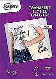 AVERY - Pochette de 8 Papiers Transferts Tee-Shirt ou Textiles Blancs ou Clairs,...