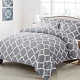 Shatex 3 Pieces Bedding Comforter Sets King Set Grey Summer Comforter Geometric Pattern Printed Comforter– Ultra Soft 100% Microfiber Polyester - Geometric Comforter with 2 Pillow Shams