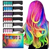 Qivange Hair Chalk Comb for Christmas Gift 6 Color Hair Chalk Non-Toxic Washable Temporary Bright Hair Color Dye for Kids Girls Adult Birthday Cosplay Party Makeup