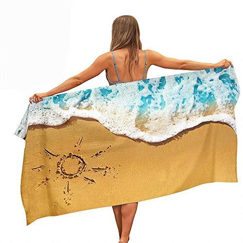 Fansu Verano Toalla de Playa de Microfibra, Toalla de Piscina Toalla Playera para Tomar el Sol de Paño, de Secado Rápido Compacta para Hombres y Mujeres (Sol,150 * 180cm)