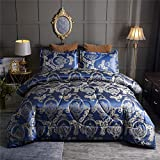 Raytrue-X Queen Comforter Set Satin Silk blanket All Season Bed Comforter Queen Set Royal Blue Bedspread Luxury Jacquard Quilt Bedding Sets Matching 2 Pillow Shams (Full/Queen, 88x88 inches, 3 Pieces)