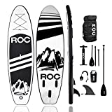 Roc Inflatable Stand Up Paddle Boards W Free Premium SUP Accessories & Backpack, Non-Slip Deck Bonus Waterproof Bag, Leash, Paddle and Hand Pump (Black)