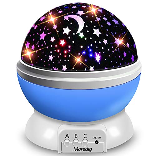 Moredig Proyector Estrellas, 360° Rotación Romántica Luz Estrellas y 8 Modos, Regalo para Niños y Bebés Cumpleaños, Día de los Reyes, Navidad, Halloween etc Azul