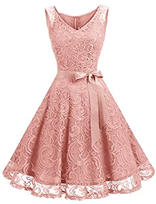 Style: V Neck, Delicate Waistband, Closed Back With Zip Closure. Floral Lace Pattern, Knee Length. Big swing design and slim waist highlight your body curves. This beautiful lace prom party dress is ideal for semi-formal events and formal parties at ...