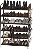 Simple Houseware 6-Tier Shoe Rack Storage Organizer 34-Pair w/Side Hanging Bag, Bronze