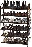 Simple Houseware 6-Tier Shoe Rack Storage Organizer 34-Pair w/Side Hanging Bag, Bronze