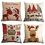 Gspirit Feliz Navidad 4 Pack Encantador Papá Noel Alce Algodón Lino Throw Pillow Case Funda de...