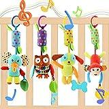 EVANCE 4 Pièces Bébé Jouet de Poussette, Berceau Hochet Jouets Animales,...