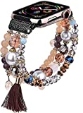 CAGOS Bracelet Beadeds Compatible with Apple Watch Band 38mm/40mm Series 6/5/4/3/2/1 Cute Handmade Fashion Elastic Stretch Beaded Strap Replacement with Stainless Steel Adapter for iWatch Brown