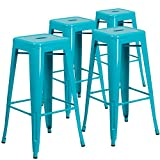 Flash Furniture 4 Pk. 30'' High Backless Crystal Teal-Blue Indoor-Outdoor Barstool