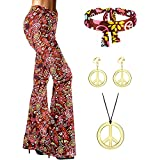 SATINIOR 70s Women Hippie Costume Accessories, Bell Bottom Boho Flared Pant (Large)