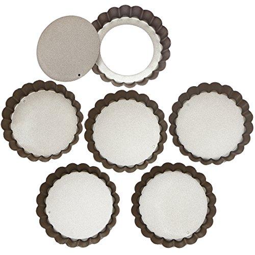 Webake Molde para Tartaletas Antiadherentes Molde para Mini Quiche, Tarta, Molde Bizcocho Desmontable (6 Unidades, 10cm, antiadherentes, Base extraíble)