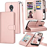 Tekcoo Moto G7 Power Case, Motorola Moto G7 Supra / G7 Optimo Maxx Wallet Case, ID Cash Credit Card Slots Holder PU Leather Carrying Folio Flip Cover [Detachable Magnetic Case] Kickstand [Rose Gold]