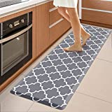 WiseLife Kitchen Mat Cushioned Anti-Fatigue Kitchen Rug,17.3'x 60',Non Slip Waterproof Kitchen Mats and Rugs Heavy Duty PVC Ergonomic Comfort Mat for Kitchen, Floor Home, Office, Sink, Laundry , Grey
