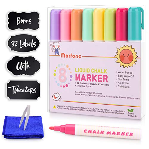 Liquid Chalk Markers, Morfone Chalkboard Marker Pens 8 Colors Reversible Bullet and Chisel Tip for Non Porous Surfaces Chalkboards Windows Glass Plastic (Bonus 32 Labels, Cleaning Cloth and Tweeze