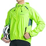 Santic Jacket Wind-Shell Cycling-Coat Windbreaker - Neon Green Light Visible Men's Long Sleeve Bicycle Hoodie