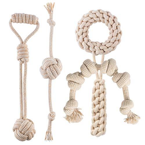犬 おもちゃ 玩具 ロープ 噛むおもちゃ 丈夫 ロープおもちゃ ボール フリスビー 天然綿とリネンで手織り 歯...