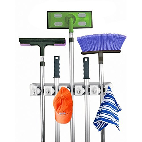 Home- It Mop and Broom Holder, 5 Position with 6 Hooks Garage...