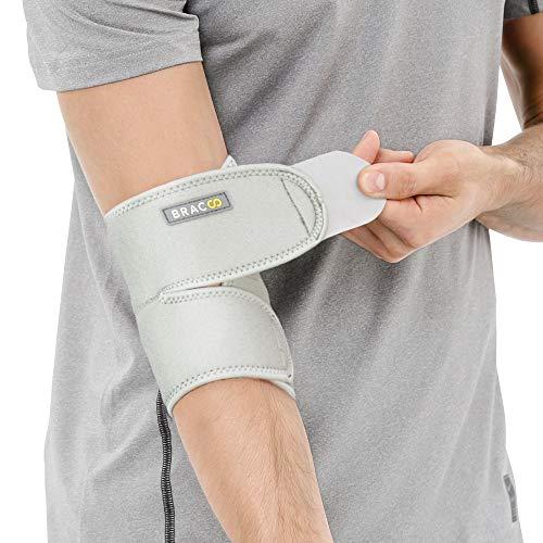 BRACOO Ellenbogenbandage - Bandage Ellenbogen - atmungsaktive Ellenbogenstütze mit Klettverschluss für Damen und Herren - ES10 - grau