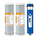 Combo Pack for FX12M and FX12P, Membrane Solutions Water Filter Replacement Cartridge Compatible GE RO Set GXRM10RBL GXRM10G Reverse Osmosis Systems, 2 Carbon Filters, 1 50GPD RO Membrane Filter