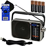 Portable radio AM/FM Battery Powered Electric with LED Tuning Indicator Panasonic   5 Core Radio Best Sound and Reception Small Size Plug Option Included  Includes 4 AA Batteries and Cleaning Cloth