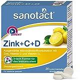 sanotact Zink + C + D Lutschtabletten - 20 Stk., Nahrungsergänzungsmittel mit Zink, Vitamin C Vitamin D3, Zitronengeschmack