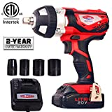 "20V Cordless Impact Wrench 1/2"" Max Torque 300N.m Compact Battery Impact Wrench with 4Pcs Sockets, 1.5A Li-ion Battery and Fast Charger, Dobetter-DBCIW20"