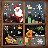 YILEEY Decoration Noel Stickers Fenetre, 160 Morceaux de Flocon de Neige, Père Noël et Rudolph Deco Noel Intérieure Maison Exterieur, Amovible Stickers pour Porte Vitrine en Verre