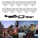 10 Kit Spot LED Eclairage Extérieur Encastrable Sol Terrasse Bois,45mm...