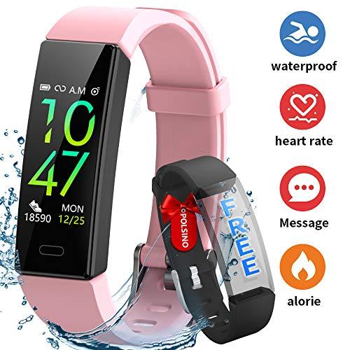 HOFIT Pulsera Actividad Reloj Inteligente Fitness Tracker Podómetro Monitor de Sueño Contador de Calorías Pasos Rastreador de Ejercicios Reloj Salud Pulsera Deportiva para Mujeres Hombres