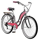 Kulana Lakona Tide Adult Beach Cruiser Bike, 26-Inch Wheels, 7-Speed, Gray/Pink (R7317AZ)