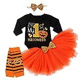 4Pcs Baby Girls My 1st Halloween Outfits Pumpkin Print Romper+Bow Tutu Dress+Headband+Leg Warmers Skirt Set (Black, 0-3 Months)