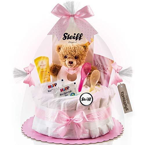 Timfanie® Windeltorte | Steiff Bärchen Rassel |1-stöckig | rosa-punkt | Windeln Gr. 2 (Baby 4-8 Kg)