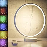SUNY Modern Nightstand Lamp, 6 Lighting Effect Modes 7 Colors Dimmable Table Lamp, Circle Design Warm White Bedside Light w/Remote Control