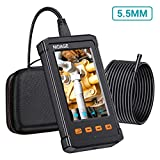 33FT Inspection Camera, 1080P HD 5.5MM Borescope with 4.3inch Screen, IP67 Waterproof Industrial Endoscope Camera with 2800nAh Battery, 8GB TF Card, Snake Camera for Automotive Engine, Pipe Detecting