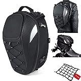 Motorcycle Tail Bag, Seat Bag, Dual Use Motorcycle Waterproof Helmet Bag for Motorbike - with One Extra Motorcycle Cargo Net
