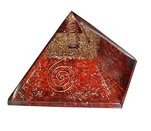 Aatm Energy Generator Red Orgone Pyramid with Clear Crystal for EMF Protection Chakra Healing Meditation with Copper (3 and 3 Inches)
