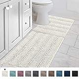 Bathroom Rugs Luxury Chenille 2-Piece Bath Mat Set, Soft Plush Anti-Slip Shower Rug + Toilet Mat Microfiber Shaggy Carpet, Super Absorbent Machine Washable(Curved Set, Ivory)