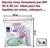 lot de 5 ex - Pochette Sachet avec fermeture par ZIP 20 X 20 cm Idéal pour...