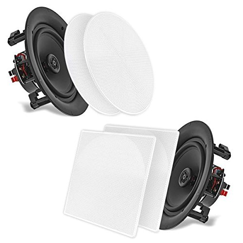 "5.25'' In-Wall/In-Ceiling Dual Speakers (Pair) - 2-Way Woofer Speaker System 1/2"" Polymer Tweeter Flush Mount w/ 80Hz - 20kHz Frequency Response 150 Watts Peak 8 Ohm Rating - Pyle PDIC56 (White)"