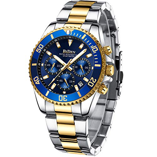 Mens Watches Chronograph Gold Blue Stainless Steel Waterproof...