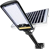 200W Solar Street Lights Outdoor Lamp, 10000lm Dusk to Dawn IP67 Security Led Flood Light with Remote Control Mounting Pole and Bracket Garden, Street, Court, Parking Lot