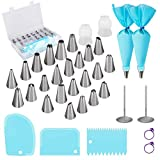 Cake Decorating Supplies Baking Tools with Icing Tips Piping Nozzles, Silicone Pastry Piping Bags, Flower Nails and Reusable Coupler for Baking Decorating Cake, Cupcakes, Cookies